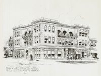 Crookston Hotel Crookston, MINNESOTA Pen & Ink Drawing: No 2 Albert Levering del (sep: MN His Society)