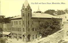 Montevideo City Hall & Fire Station, 1894 cor Main Street & Sheridan Avenue Montevideo, MINNESOTA, Architect: Orff & Joralemon Cost: $12,000 or $17,000 TORN DOWN 1962 Montevideo Leader April 6, 1894 Postcard: City Hall & opera House 1894 (CDT Collection)