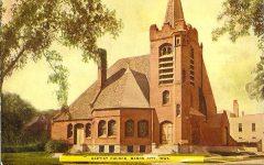 First Baptist Church, 1895 cor East State ST & Pennsylvania Avenue Mason City, IOWA Architect: Orff & Joralemon Cost: $20,000 STANDING Brickbuilder June 1895 Postcard: postmarked Feb 23, 1911 (CDT Collection)