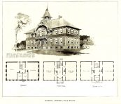 Stanley (Wis) School, 1895 Stanley, WISCONSIN 3rd Avenue Architect: Orff & Joralemon Cost: $4,000 MOVED and later BURNED DOWN 1914 Brickbuilder June 1896 Drawing: Orff & Joralemon office brochure (in Mpls History Collection)