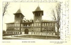 East High School, 1896 210 Vernon ST & Winnebago ST Decorah, IOWA Architect: Orff & Joralemon Cost: $25,000 or $50,000 STANDING 1997 in use as a school Brickbuilder July 1896 $25,000 Inland Architect June 1896 $50,000 Postcard: Photo by Muller postmarked 1908 (CDT Collection)