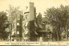 Stanley Hall School for Young Women & Children, 1896 2122 Pleasant Ave South Minneapolis, MINNESOTA MCD 1895-96 Miss Olive A Evers, principal Stanley Hall, r e 17th Architect: Orff & Joralemon Cost: $15,000˛ TORN DOWN 1936 by WPA Brickbuilder May 1896 Postcard: Rotograph Co (Germany) postmarked Aug 11, 1908 (CDT Collection)