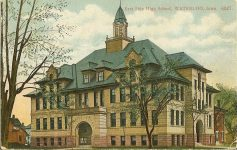 East High School, 1897 Mulberry & E 5th ST? East Waterloo, IOWA Architect: Orff & Joralemon Cost: $30,000 TORN DOWN 1960 Brickbuilder Feb 1897 Postcard: Made in Germany AC Bosselman & Co NY (CDT Collection)