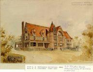 LS Tainter House, 1889 Menomonie, WISCONSON Architect: LS Buffington Rendering: signed by EE Joralemon, del (lower left)