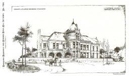 LS Tainter House, 1890 Menomonie, WISCONSON Architect: LS Buffington Pen & Ink Drawing: signed by EE Joralemon, del (lower left)