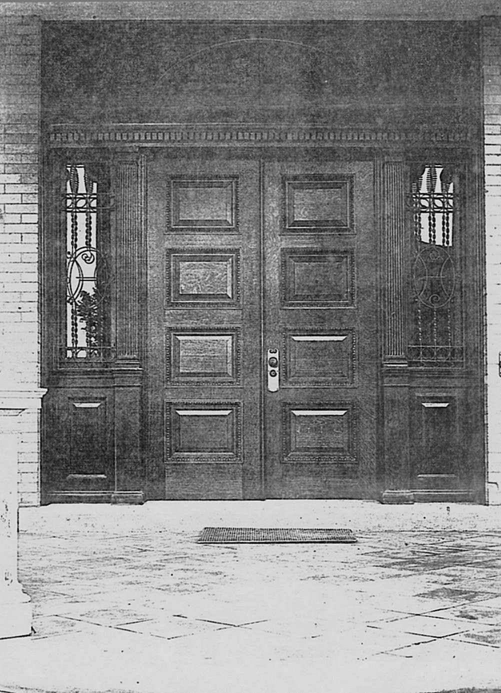 Hinkle-Murphy House, 1886 619 South 10th Street Minneapolis, Minnesota Architect: William Channing Whitney The outside front doors. Northwestern Architect Supplement Vol. 6. No. 7 1886 Minneapolis Library History Collection