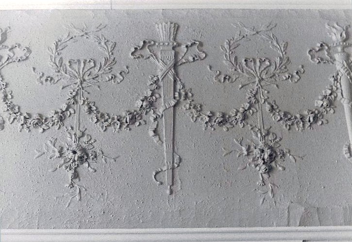 Hinkle-Murphy House, 1886 619 South 10th Street Minneapolis, Minnesota Architect: William Channing Whitney 1st FL Dining room: Plaster wall detail. CDT B & W snapshot: ca. Summer 1984
