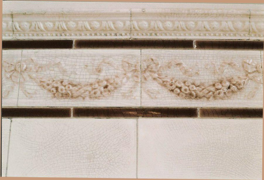 Hinkle-Murphy House, 1886 619 South 10th Street Minneapolis, Minnesota Architect: William Channing Whitney 2nd Floor rear Bathroom wall tile detail. CDT snapshot: February 21,1984
