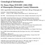 Genealogical Information Dr. Henry Elmer HOLMES (1861-1920)