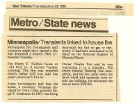 "Minneapolis Star Tribune Thursday June 23, 1988 Metro 3Bw ""Minneapolis/Transients linked to house fire"""