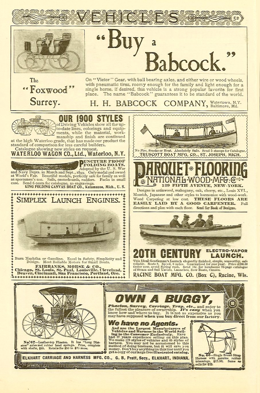 "1900 6 ""Buy a Babcock"" VEHICLES Page 52 The Century Illustrated Monthly Magazine Vol. LX No. 2 June 1900 6.75″x10″"
