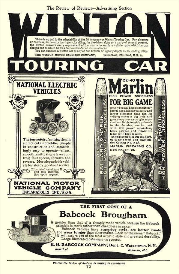 1903 BABCOCK Brougham Carriage H.H. BABCOCK COMPANY Watertown, New York The Review of Reviews – Advertising Section 1903 6.5″x9.75″ page 70