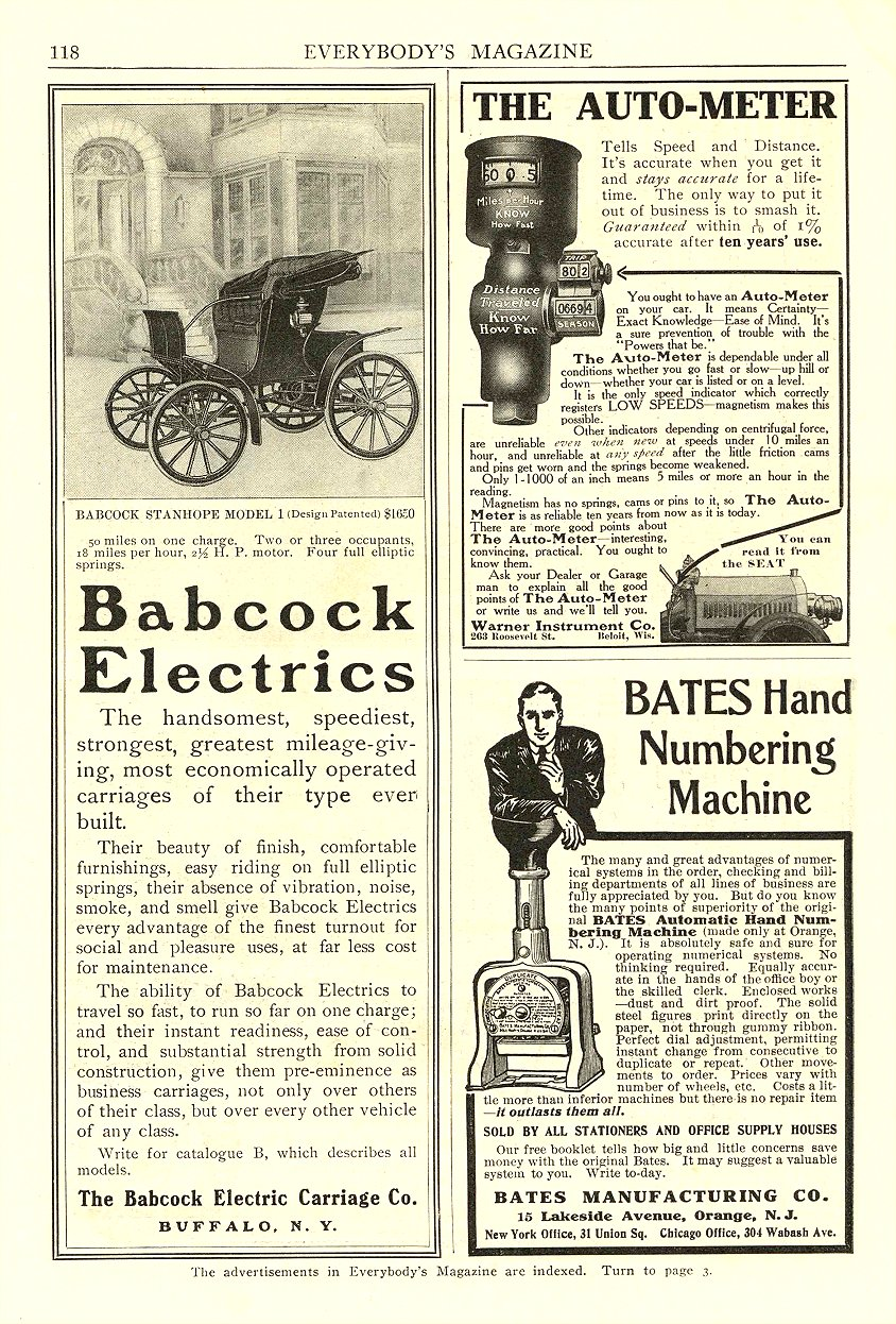 1906 6 BABCOCK Electric Babcock Electrics The Babcock Electric Carriage Co. Buffalo, New York EVERYBODY'S MAGAZINE June 1906 6.75″x10″ page 118