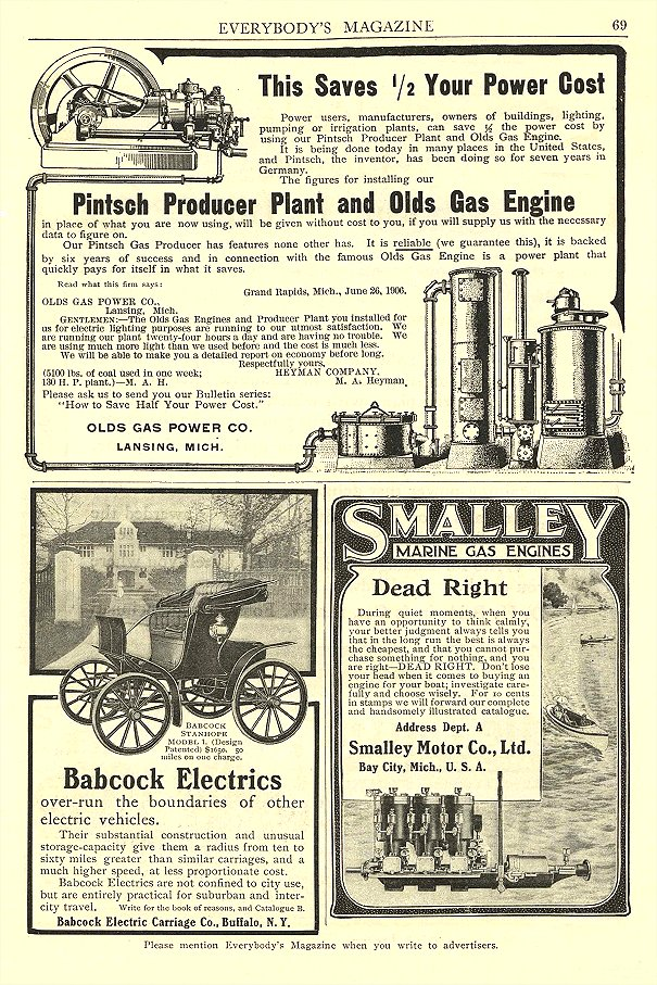 1906 BABCOCK Electric Car Over-rum the boundaries of other electric vehicles Babcock Electric Carriage Co Buffalo, New York EVERYBODY'S MAGAZINE 1906 6.5″x9.75″ page 69