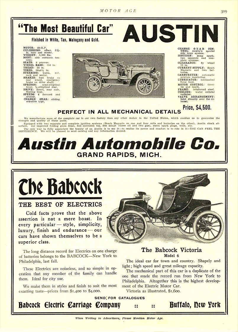 1907 2 7 BABCOCK Electric Car The Best of Electrics Babcock Electric Carriage Co Buffalo, New York MOTOR AGE February 7, 1907 8.5″x12″ page 319