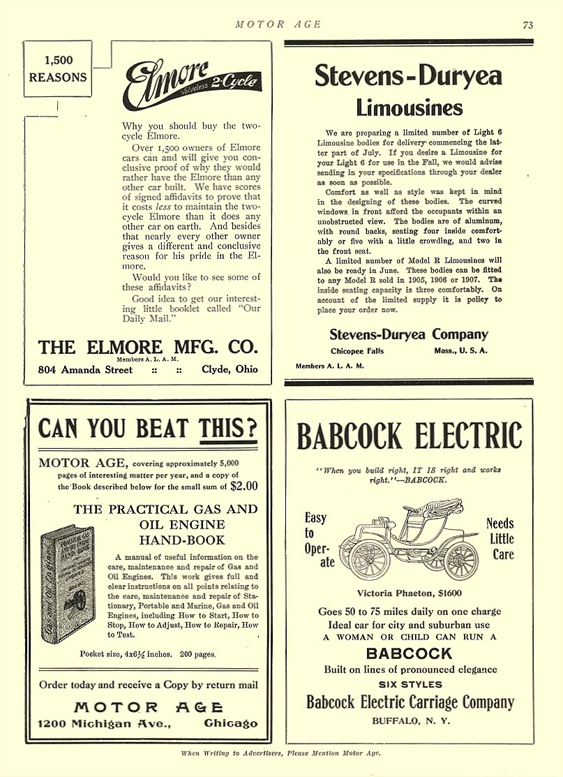"1907 5 23 BABCOCK Electric Car ""When you build right, IT IS right and works right"" – BABCOCK Babcock Electric Carriage Co Buffalo, New York MOTOR AGE May 23, 1907 8.5″x12″ page 73"