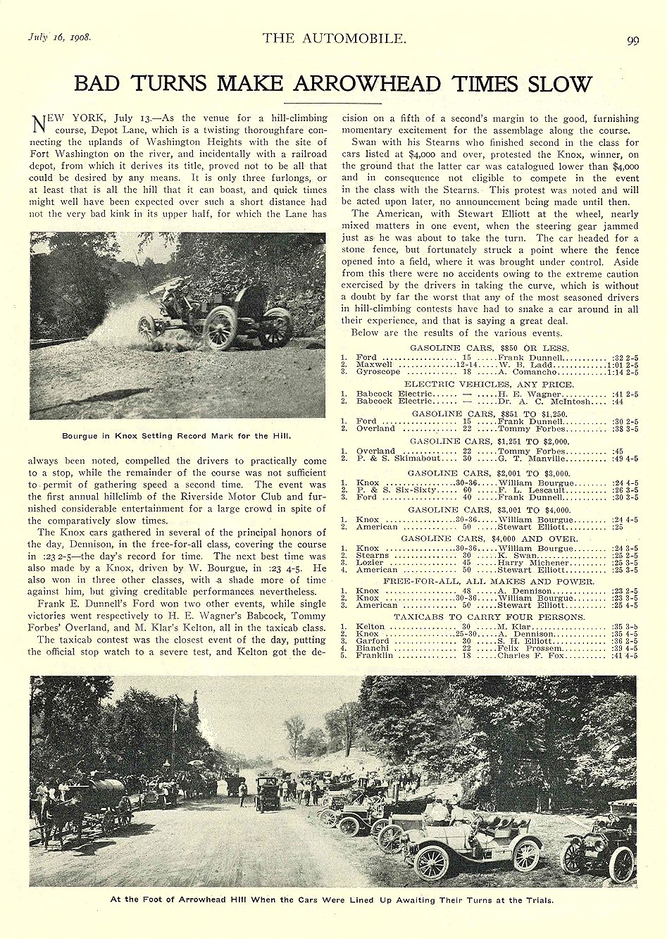 1908 7 16 BABCOCK Electric Racing Bad Turns Make Arrowhead Times Slow THE AUTOMOBILE July 16, 1908 University of Minnesota Library 8.75″x11.5″ page 99