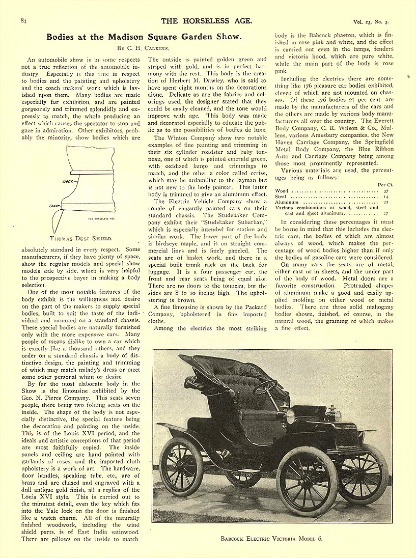1909 1 20 BABCOCK Electric Car Victoria Model 6 Babcock Electric Carriage Co Buffalo, New York THE HORSELESS AGE January 20, 1909 8.5″x11.75″ page 84