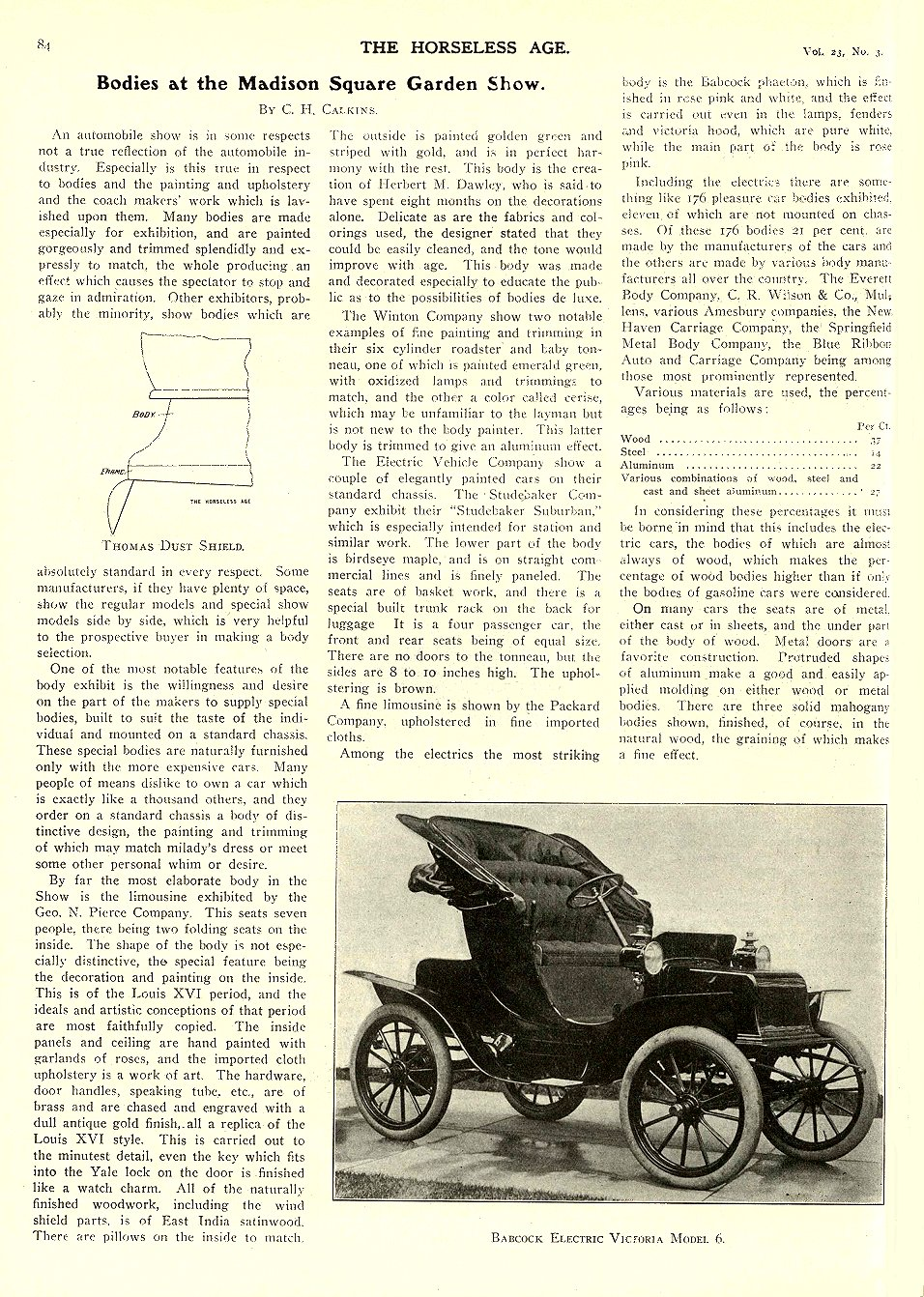 1909 1 20 BABCOCK Electric Babcock Electric Victoria Model 6 THE HORSELESS AGE January 20, 1909 University of Minnesota Library 8.25″x11.5″ page 84