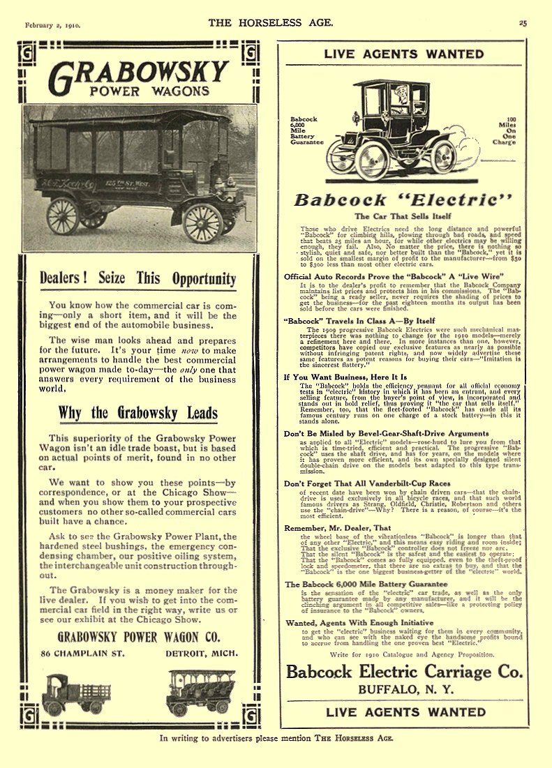 1910 2 2 BABCOCK Electric Car The Car That Sells Itself Babcock Electric Carriage Co Buffalo, New York THE HORSELESS AGE February 2, 1910 8.75″x12″ page 25