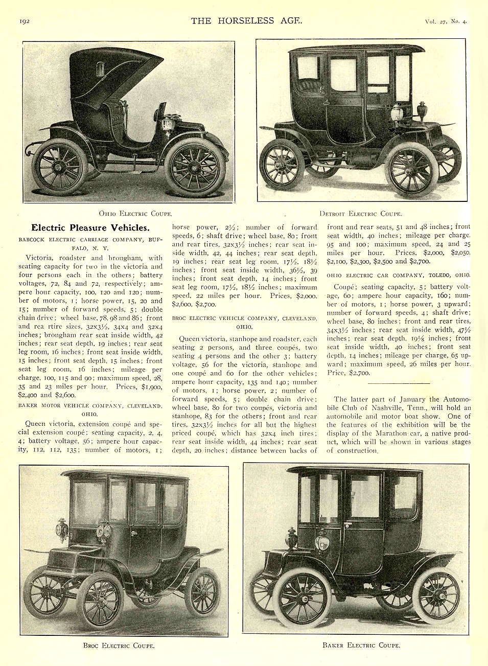 1911 1 25 BABCOCK Electric Article Electric Pleasure Vehicles THE HORSELESS AGE January 25, 1911 University of Minnesota Library 8.25″x11.5″ page 192