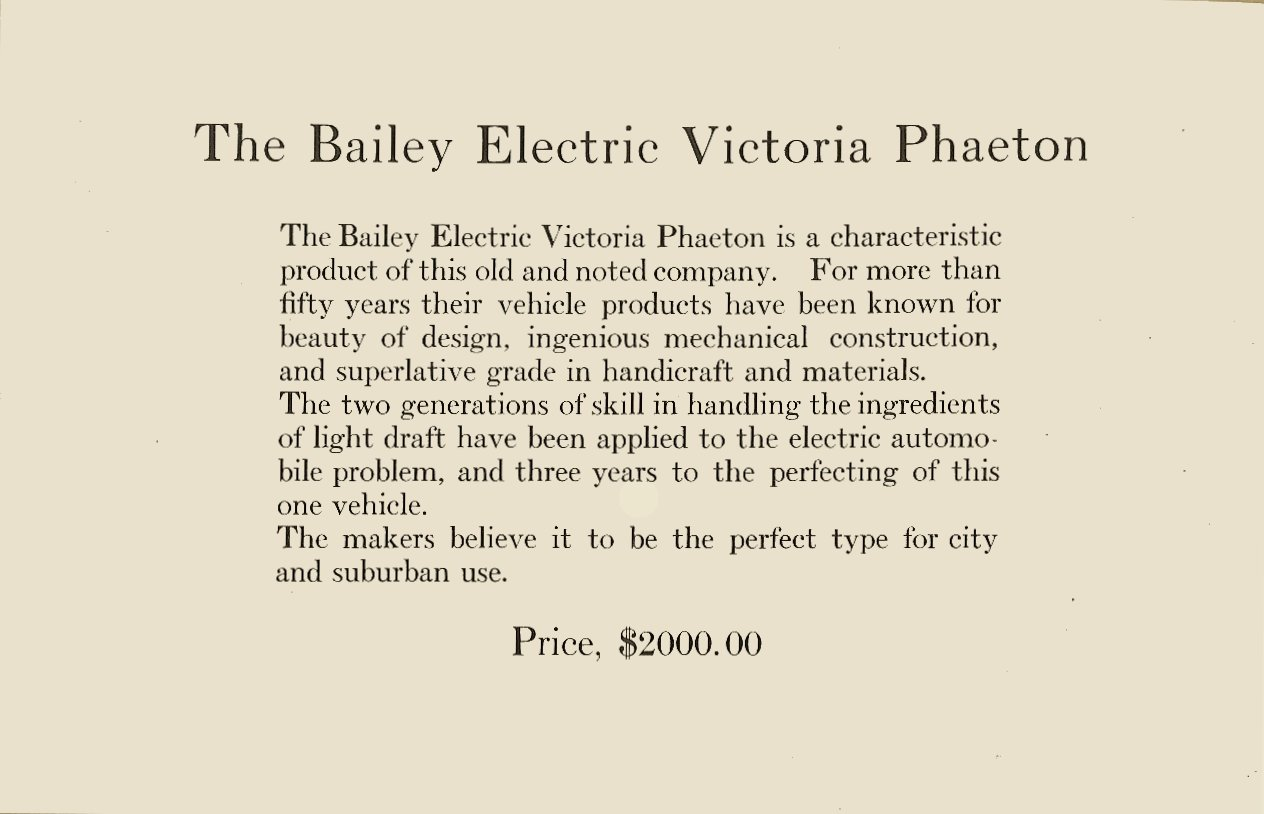 1909 The BAILEY ELECTRIC VEHICLES S R Bailey & Company, Inc Amesbury, MASS Folded: 8.75″x5.75″