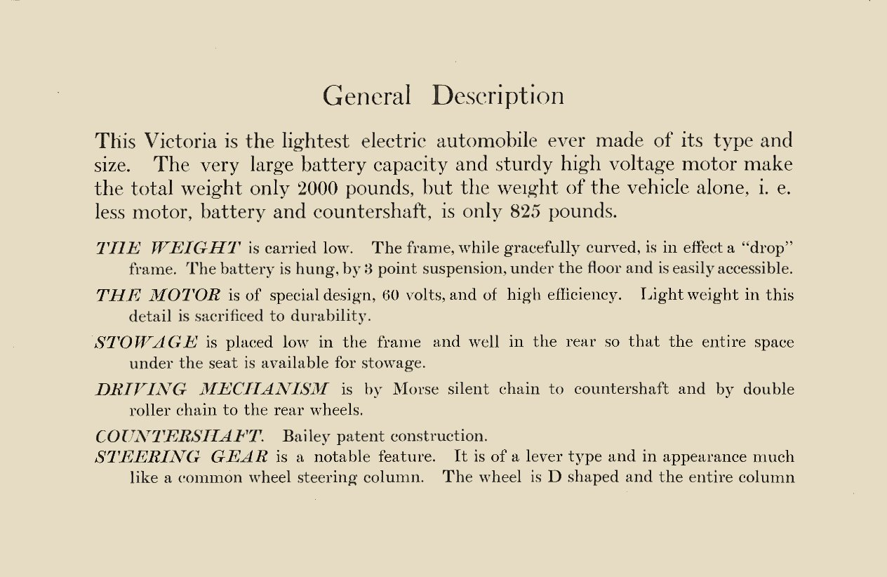 1909 The BAILEY ELECTRIC VEHICLES S R Bailey & Company, Inc Amesbury, MASS page 3 Folded: 8.75″x5.75 page 2″