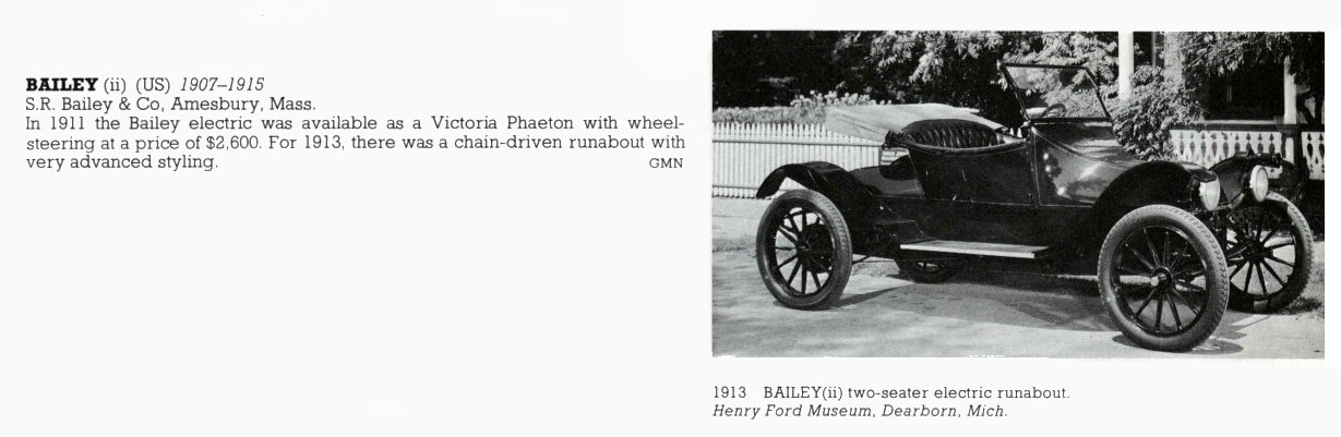 1913 BAILEY two-seater electric S.R. Bailey & Co Amesbury, MASS 1907-1915 THE NEW ENCYLOPEDIA OF MOTORCARS 1885 to the Present Edited by G. N. Georgano E. P. Dutton New York 1982 ISBN: 0-525-93254-2 8.25″x11″ page 73