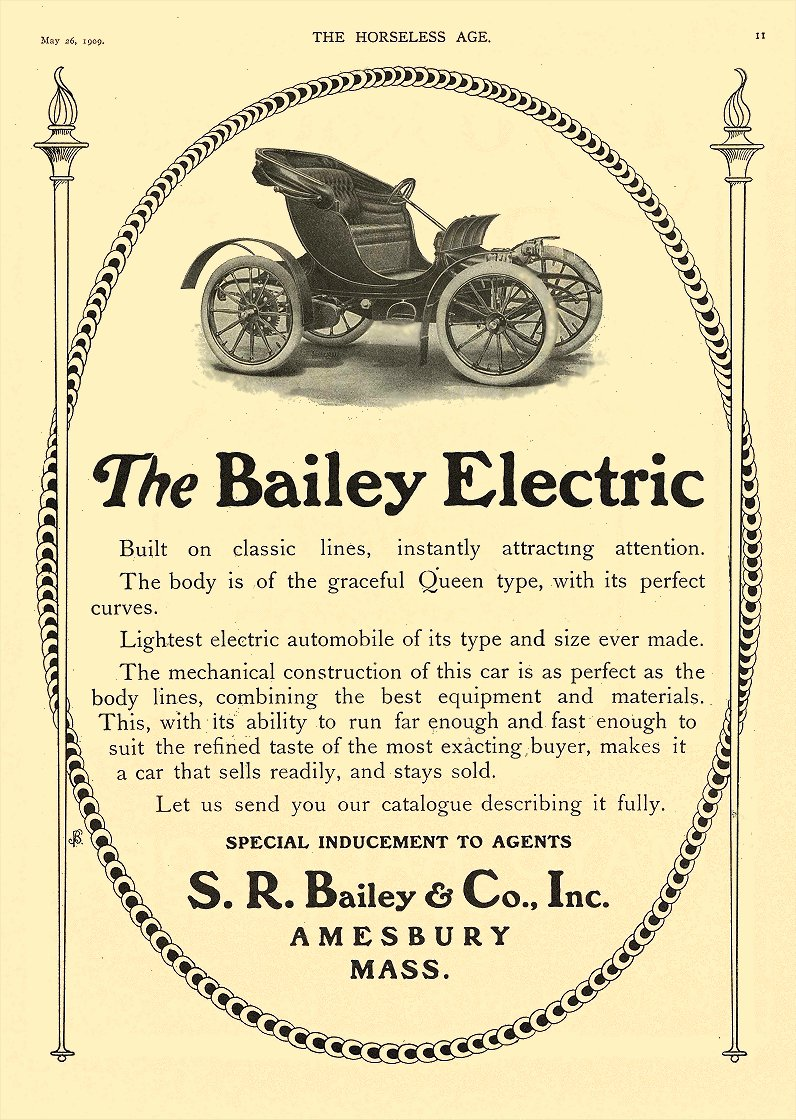 1909 5 26 BAILEY Electric The Bailey Electric S. R. Bailey & Co., Inc. Amesbury, MASS THE HORSELESS AGE May 26, 1909 8.5″x11.75″ page 11