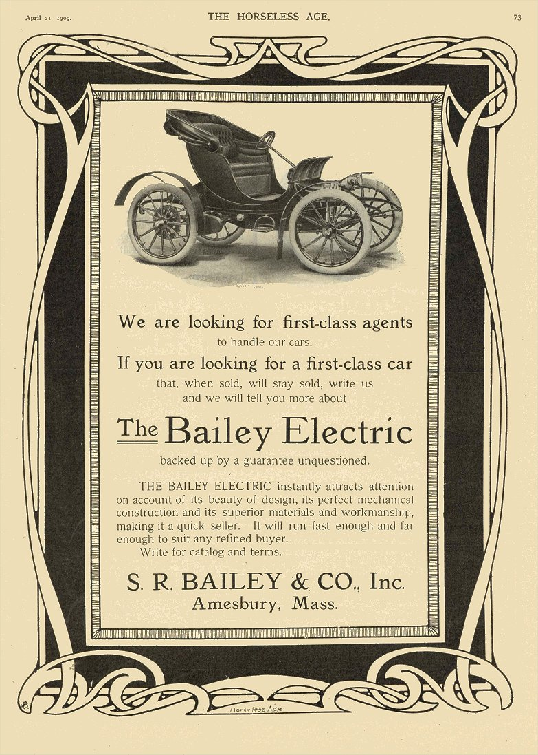 1909 4 21 The BAILEY ELECTRIC S.R. BAILEY & CO, Inc Amesbury, MASS THE HORSELESS AGE April 21, 1909 8.25″x11.75″ page 73