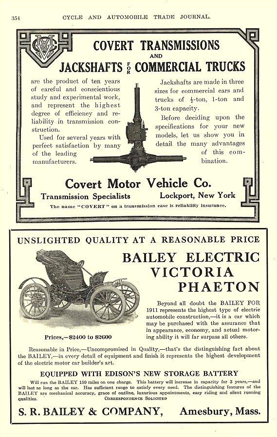 1911 1 BAILEY Electric Victoria Phaeton S. R. Bailey & Co., Inc. Amesbury, MASS Cycle And Automobile Trade Journal January 1911 6.5″x10″ page 354