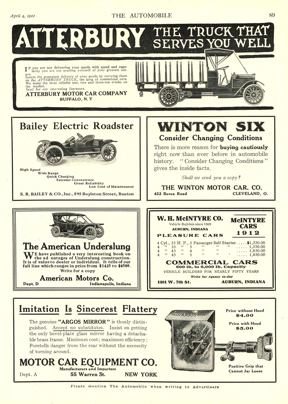 1912 4 4 BAILEY Electric Bailey Electric Roadster S. R. BAILEY & CO Boston, MASS THE AUTOMOBILE April 4, 1912 9″x12″ page 89