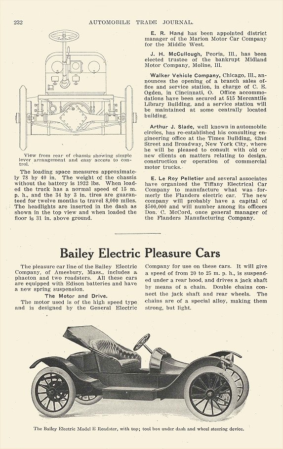 1913 BAILEY Electric Model E Roadster Bailey Electric Pleasure Cars Bailey Electric Company Amesbury, MASS AUTOMOBILE TRADE JOURNAL 1913 6.5″x9.25″ page 232