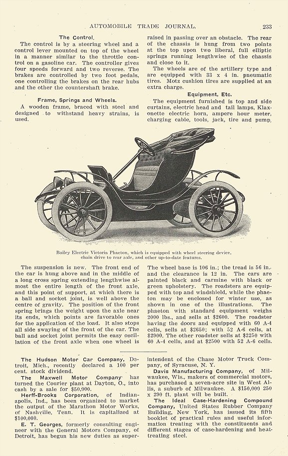 1913 BAILEY Electric Victoria Phaeton Bailey Electric Pleasure Cars Bailey Electric Company Amesbury, MASS AUTOMOBILE TRADE JOURNAL 1913 6.5″x9.25″ page 233
