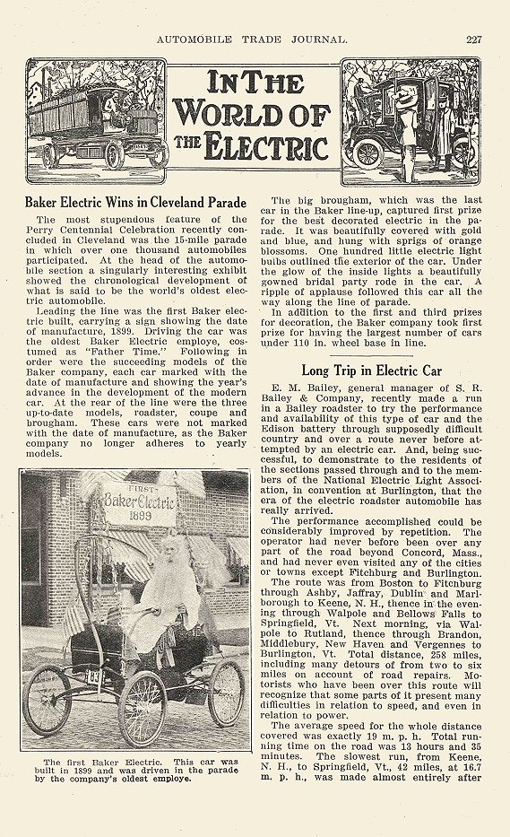1913 11 BAILEY Electric Long Trip in Electric Car In The World Of The Electric Bailey Electric Company Amesbury, MASS AUTOMOBILE TRADE JOURNAL November 1913 6.25″x9.75″ page 227