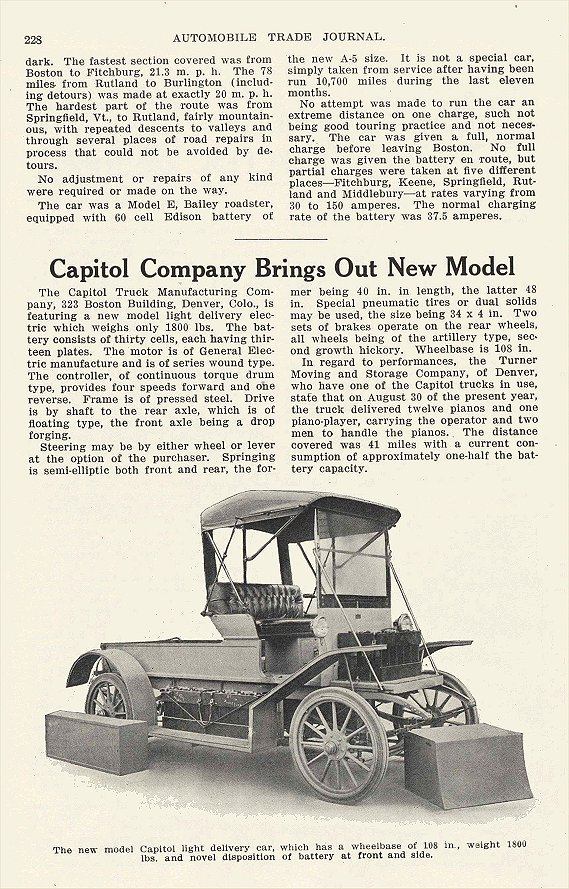 1913 11 BAILEY Electric Long Trip in Electric Car In The World Of The Electric Bailey Electric Company Amesbury, MASS AUTOMOBILE TRADE JOURNAL November 1913 6.25″x9.75″ page 228