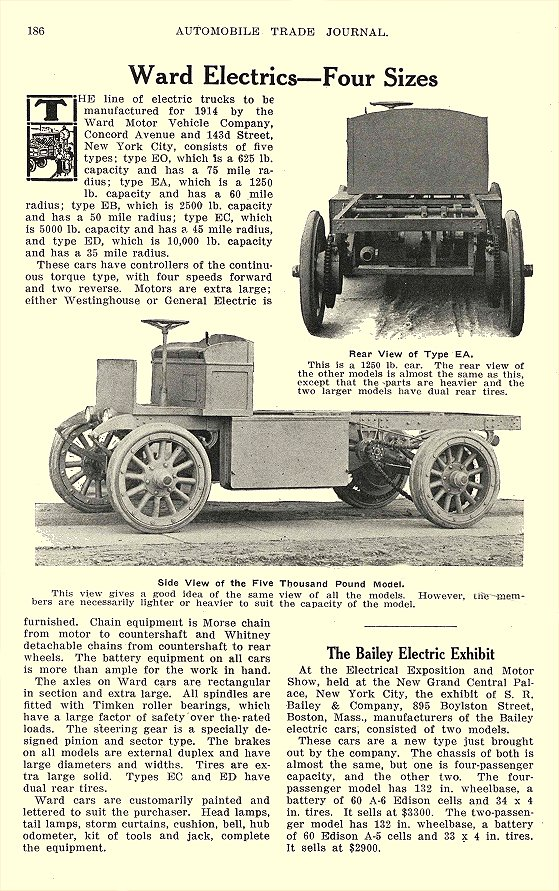 1913 BAILEY Electric The Bailey Electric Exhibit S. R. Bailey & Company Boston, MASS Automobile Trade Journal 1913 6″x10″ page 186