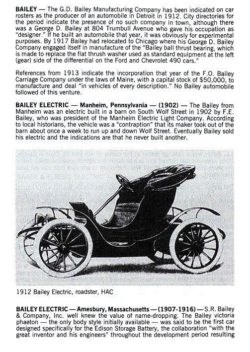 BAILEY Electric Amesbury, Mass. 1907-1916 Standard Catalog of AMERICAN CARS 1805-1942 By Beverly Rae Kimes & Henry Austin Clark, Jr. Krause Publications ISBN: 0-87341-428-4 8.5″x11″ page 95