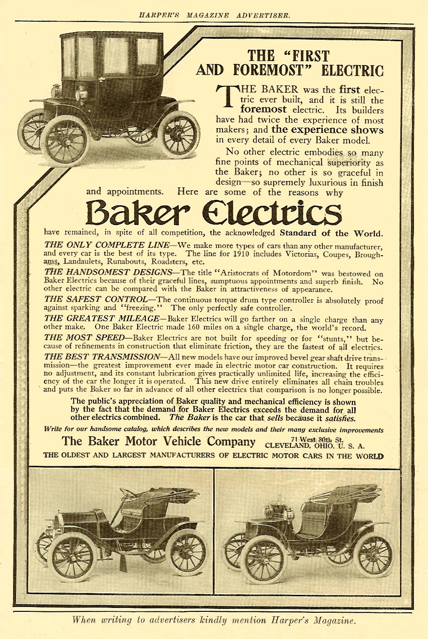 1910 BAKER Electrics The Baker Motor Vehicle Company Cleveland, OHIO HARPER'S MAGAZINE ADVERTISER 6.5″x9.5″