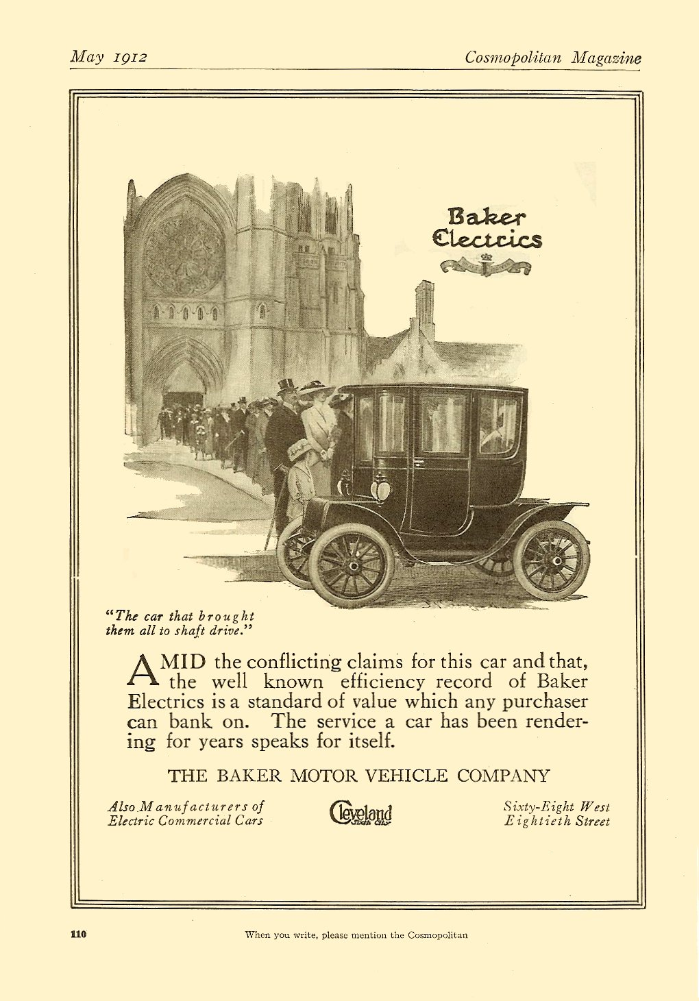 1912 5 BAKER Baker Electrics The Baker Motor Vehicle Company Cleveland, Ohio May 1912 Cosmopolitan Magazine 6.75″x9.75″ page 110