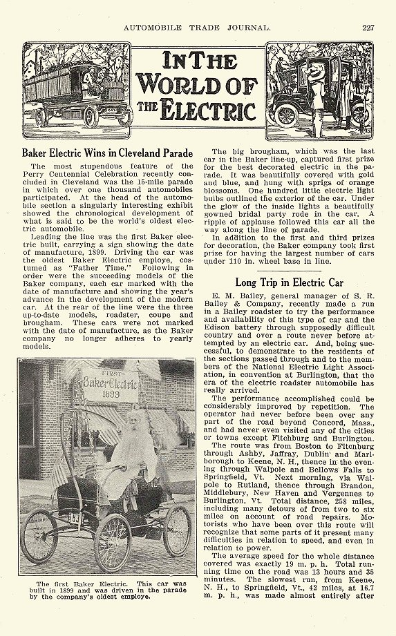 1913 11 1899 BAKER Electric The first BAKER Electric in Perry Centennial Celebration parade driven by the company's oldest employee In The World Of The Electric AUTOMOBILE TRADE JOURNAL November 1913 6.25″x9.75″ page 227