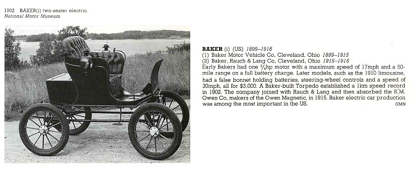 1902 BAKER two-seater electric (1) BAKER Motor Vehicle Co Cleveland, OHIO 1899-1915 (2) BAKER, RAUCH & LANG Co Cleveland, OHIO 1915-1916 THE NEW ENCYLOPEDIA OF MOTORCARS 1885 to the Present Edited by G. N. Georgano E. P. Dutton New York 1982 ISBN: 0-525-93254-2 8.25″x11″ page 73