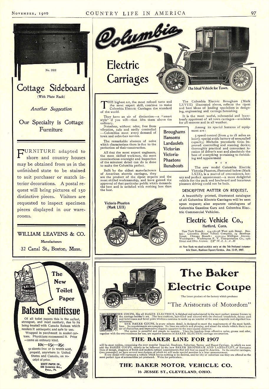 "1906 11 BAKER Electric ""The Aristocrats of Motordom"" THE BAKER MOTOR VEHICLE CO. Cleveland, OHIO COUNTRY LIFE IN AMERICA November 1906 10″x14.25″ page 97"