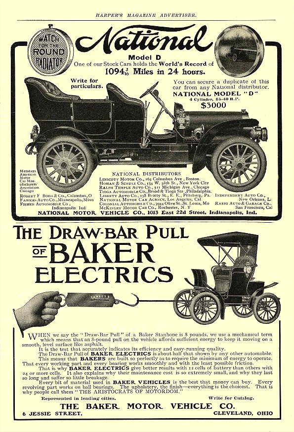 1906 4 BAKER Electric THE DRAW-BAR PULL OF BAKER THE BAKER MOTOR VEHICLE CO. Cleveland, OHIO Harper's Magazine Advertiser April 1906 6.25″x9.5″