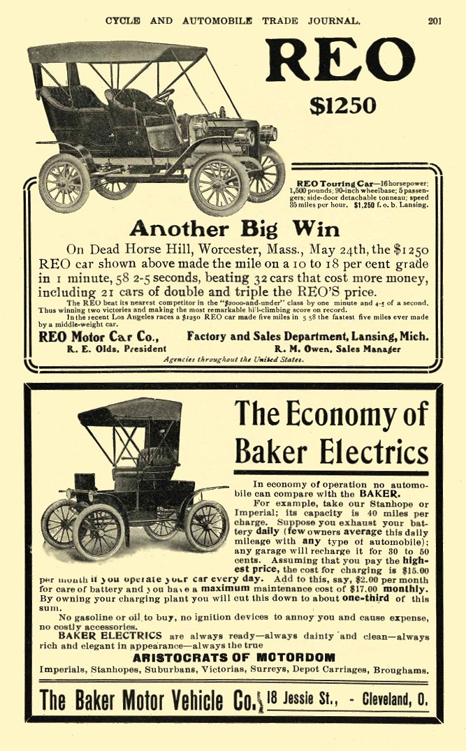 1906 7 BAKER Electric Car The Economy of Baker Electrics The Baker Motor Vehicle Co. Cleveland, OHIO CYCLE AND AUTOMOBILE TRADE JOURNAL July 1906 Page 201 6″x9.25″
