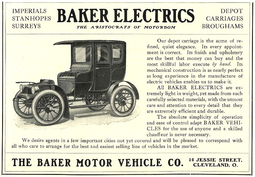 "1906 BAKER Electric ""THE ARISTOCRATS OF MOTORDOM"""" THE BAKER MOTOR VEHICLE CO. Cleveland, OHIO 1906 8.5″x5.75″"