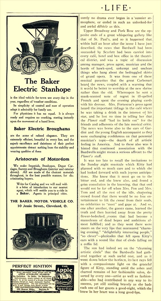 1906 BAKER Electric The Baker Electric Stanhope THE BAKER MOTOR VEHICLE CO. Cleveland, OHIO LIFE 1906 5.75″x11″