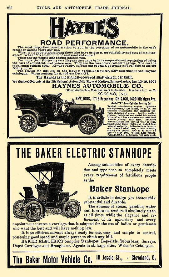 1906 BAKER Electric Car THE BAKER ELECTRIC STANHOPE The Baker Motor Vehicle Co. Cleveland, OHIO Cycle and AUTOMOBILE TRADE JOURNAL 1906 6″x9.25″ page 232