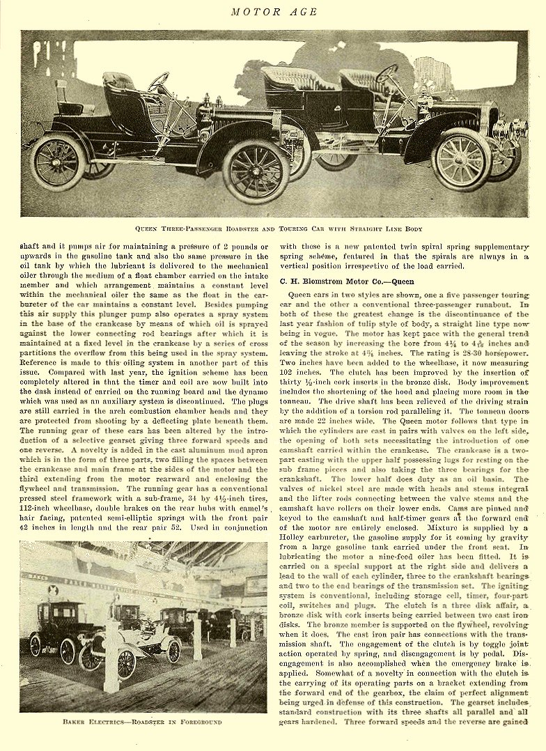1907 2 7 BAKER Electric Baker Electrics – Roadster In Foreground THE BAKER MOTOR VEHICLE CO. Cleveland, OHIO MOTOR AGE February 7, 1907 8.25″x11.75″