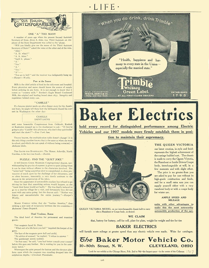 1907 BAKER Electric The Queen Victoria The Baker Motor Vehicle Co Cleveland, Ohio LIFE 1907 8.5″x10.75″ page 116